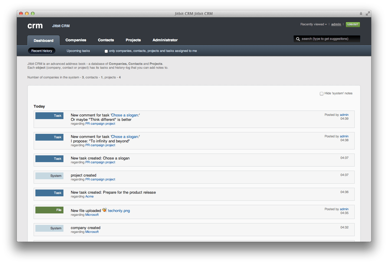 Click to view Jitbit Small Business CRM 4.1.0 screenshot